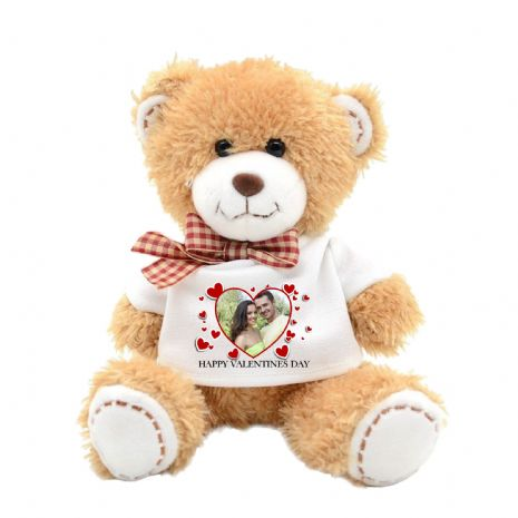 Personalised Love Heart PHOTO Teddy Bear N18 - ANY TEXT